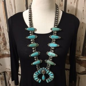 Jewelry - Full Squash Blossom Natural Turquoise Necklace